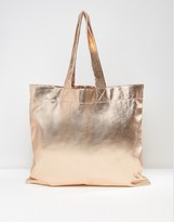 Asos Oversized Metallic Fabric Shopper Bag