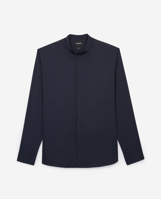 The Kooples Slim-fit navy blue shirt with officer collar