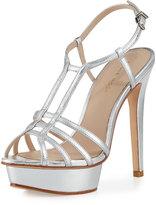 Pelle Moda Marble Metallic Strappy Platform Sandal, Silver
