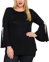 Celeste Black Split-Sleeve Tunic - Plus