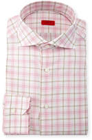 Isaia Check Dress Shirt, Pink/Tan/White
