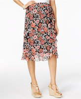 NY Collection Petite Printed Ruffled Wrap Skirt