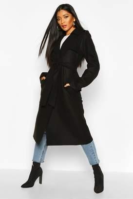 boohoo Trench Robe Belt Wool Look Coat