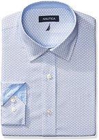 Nautica Men's Print Spread Collar Dress Shirt