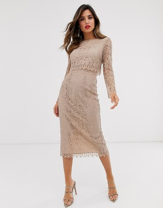 Asos Design DESIGN lace long sleeve midi pencil dress-Beige