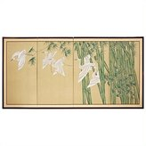 Oriental Furniture Authentic Chinese Japanese Style Art 18 by 36-Inch Bamboo Escape Hand Painted Folding Wall Screen