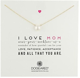 Dogeared I Love Mom Pearl Necklace (Gold Dipped) Necklace