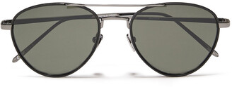 Linda Farrow Aviator-style Silver-tone And Leather Mirrored Sunglasses