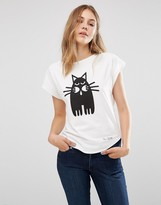 People Tree X Peter Jensen Organic Cotton T-Shirt With Cat Print