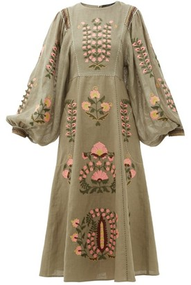 Vita Kin - Patchouli Embroidered-linen Dress - Green Multi