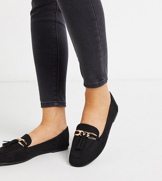 London Rebel wide fit metal trim loafer in black