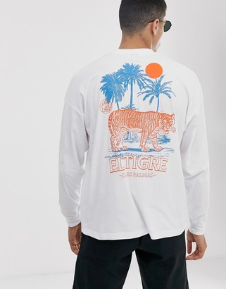 Asos Design DESIGN oversized long sleeve t-shirt with tropical back and chest print in white marl