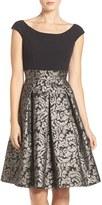 Eliza J Ponte & Metallic Jacquard Fit & Flare Dress