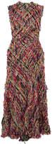Alexander McQueen Fringed Tweed Midi Dress - Red