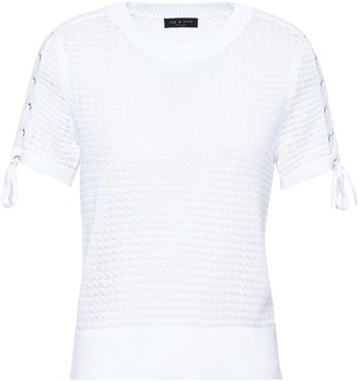 Rag & Bone Lace-up Open-knit Cotton Top