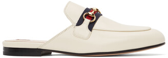 Gucci White Leather Princetown Slippers