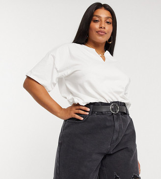 ASOS DESIGN Curve boxy t-shirt with notch neck in white