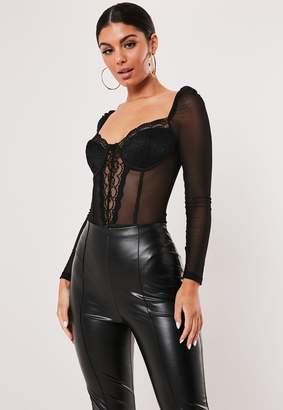 Missguided Black Mesh Lace Corset Detail Bodysuit