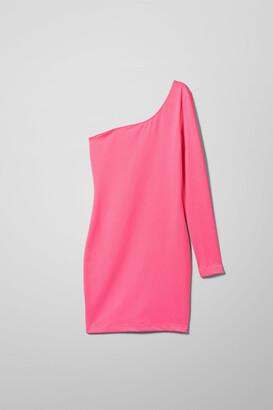 Weekday Bella One Shoulder Dress - Pink