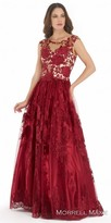 Morrell Maxie Illusion Floral Embroidered A-line Evening Dress