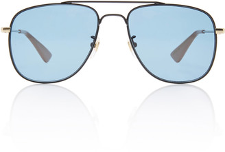 Gucci Thin Metal Aviator Sunglasses
