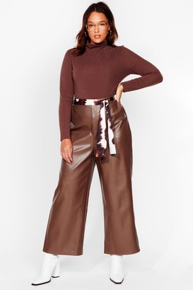 Nasty Gal Womens The Hustle Plus Faux Leather Cropped Trousers - Brown - 20