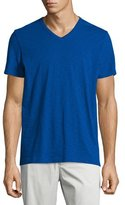 Vince Slub Short-Sleeve V-Neck Tee, Vibrant Blue