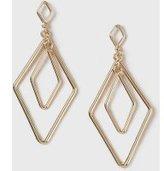 Dorothy Perkins Womens Inner Diamond Drop Earrings- Gold