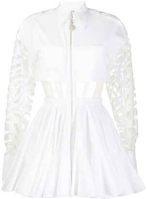 David Koma Sheer Panels Flared Mini Dress