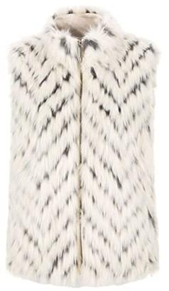 Tribal Faux Fur Vest (Eggshell) Women's Coat
