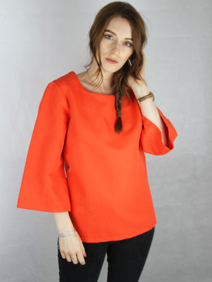 Tusk Collection - ORANGE COTTON TRUMPET SLEEVE TOP - UK Small