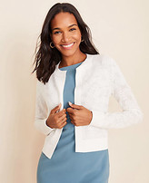 Ann Taylor Petite Floral Jacquard Cropped Open Cardigan