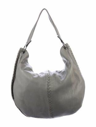 Bottega Veneta Cervo Intrecciato-Trimmed Hobo Grey