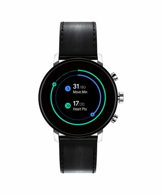 Movado Connect 2.0 Unisex Powered with Wear OS by Google Stainless Steel and Black Leather Smartwatch