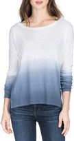 Neiman Marcus Dip-Dye Long-Sleeve Top, Storm
