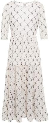 Baum und Pferdgarten Jones Gathered Printed Stretch-mesh Midi Dress