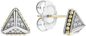 Lagos KSL Lux Diamond Silver & 18k Gold 9mm Pyramid Stud Earrings