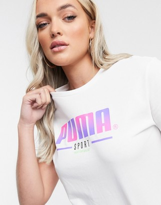 Puma large graphic logo t-shirt in white and pink