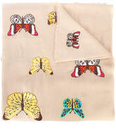 Janavi beetle and butterfly embroidered scarf