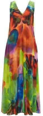 Raey Neon Tie-dye Print Silk Dress - Womens - Multi