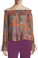 Etro Paisley Off-the-Shoulder Peasant Top