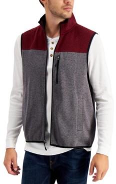 Club Room Men's Colorblock Fleece Sweater Vest, Created for Macy's