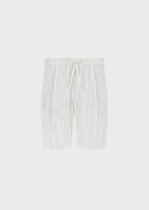 Emporio Armani Mixed-Linen Bermuda Shorts With Vanise Stripes