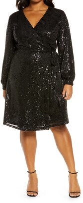 Chi Chi London Curve Dayna Sequin Long Sleeve Wrap Minidress