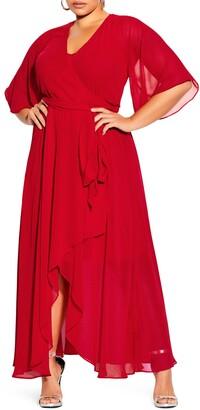 City Chic Enthral Me Wrap Maxi Dress