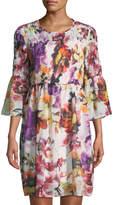 Label by 5Twelve 3/4-Sleeve Floral-Print Fit-&-Flare Dress