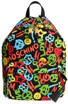 Moschino Archive Print Tactel Nylon Backpack - White
