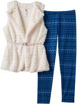 Knitworks Girls 7-16 Textured Stripe Faux-Fur Vest & Fairisle Leggings Set