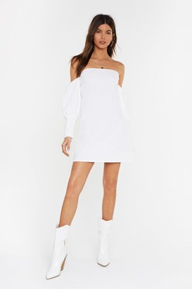 Nasty GalNasty Gal Womens Showing You Off-The-Shoulder Linen Mini Dress - White - 12, White