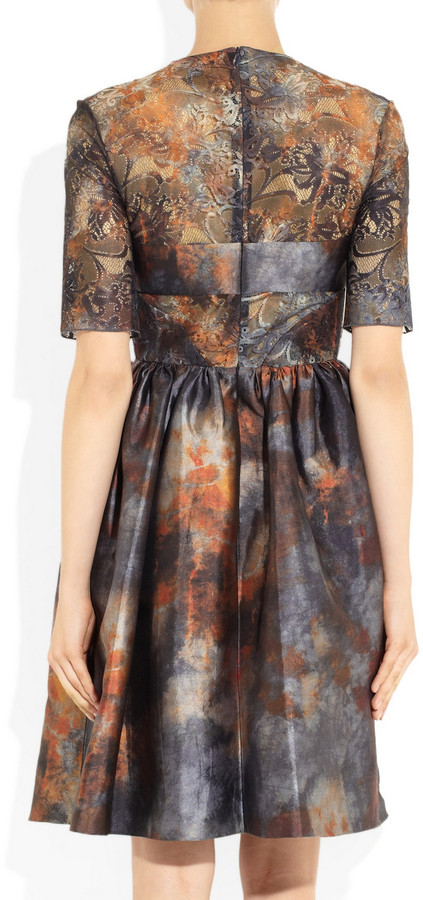 Mulberry Tie-dye satin and lace dress